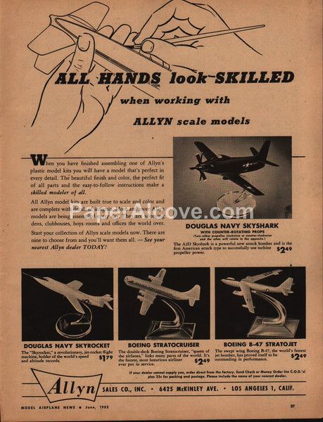 Allyn Airplane Model Navy Douglas Skyshark 1952 vintage original old magazine ad