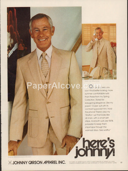 Johnny Carson Apparel men's clothes 1980 vintage original old magazine ad Here's Johnny!