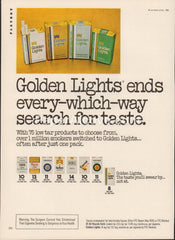 Golden Lights packs Cigarettes 1980 vintage original old magazine ad tobacco