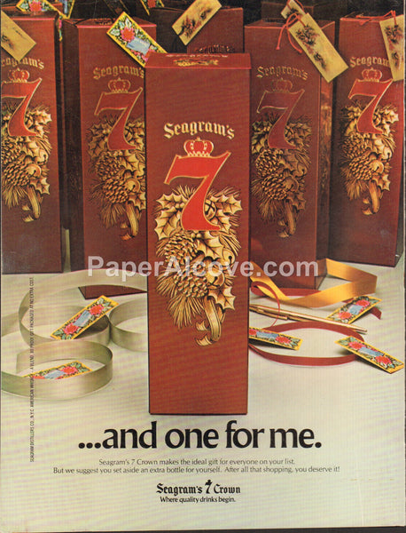 Seagram's 7 Crown Canadian Whisky Christmas 1980 vintage original old magazine ad retro bar