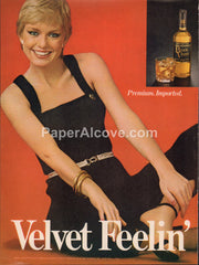 Black Velvet Canadian Whisky blonde woman 1980 vintage original old magazine ad retro bar