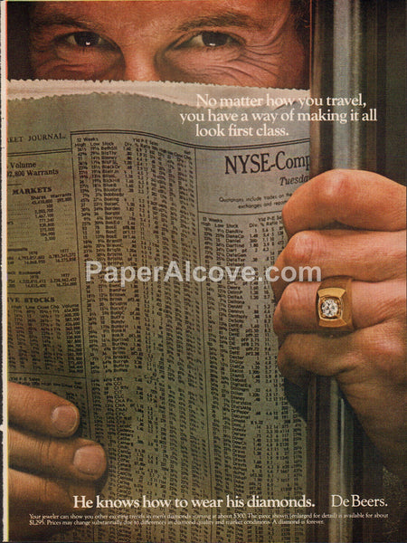 DeBeers Diamonds Stock Pages Wall Street Journal 1980 vintage original old magazine ad He knows how to wear his diamonds