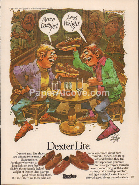 Dexter Lite Shoes 1980 vintage original old magazine ad Jack Davis art men arguing in a bar pool billiards