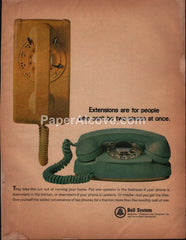 Bell System AT&T yellow turquoise telephones 1965 vintage print ad