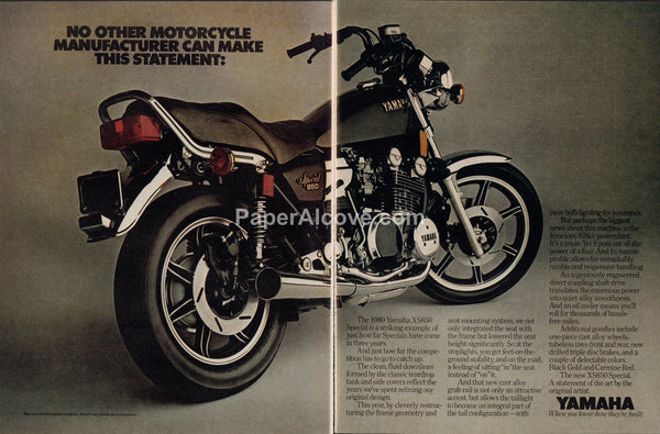Yamaha XS850 Special motorcycles 1980 vintage original 2-page old magazine ad