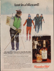 Canadian Club Whisky Lake Placid Winter Olympics cross country skiing 1980 vintage original old magazine ad retro bar
