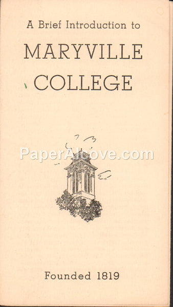 Maryville College Bulletin brochure 1947 vintage old introduction to history Tennessee