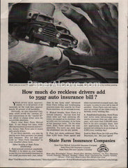 State Farm Auto Insurance 1953 vintage original old magazine ad
