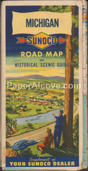 Sunoco Michigan 1950 vintage old map Sun Oil gas service station