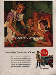 Coca-Cola coke bottles yellow crate 1953 vintage original old magazine ad Home-grown fun has lots of flavor