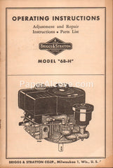 Briggs & Stratton Model 6B-H gasoline engine Operating Instructions 1950s original vintage farm manual gas Milwaukee