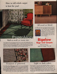 Bigelow Rugs and Carpets 1953 vintage original old magazine ad