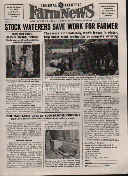 General Electric Stock Waterers 1953 vintage original old magazine ad farm news