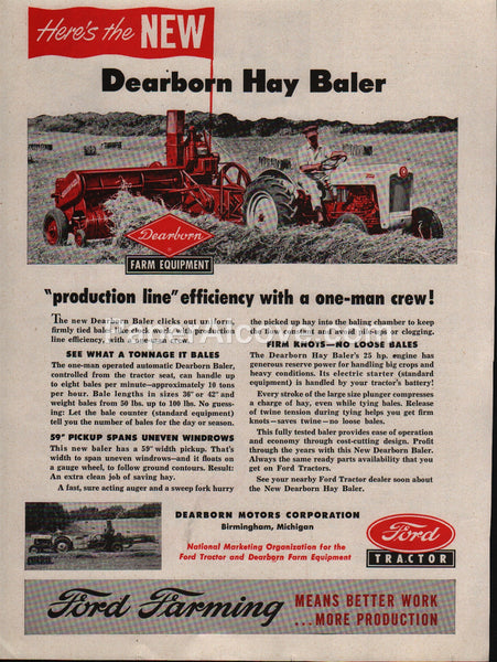 Ford Tractor Dearborn Hay Baler 1953 vintage original old magazine ad