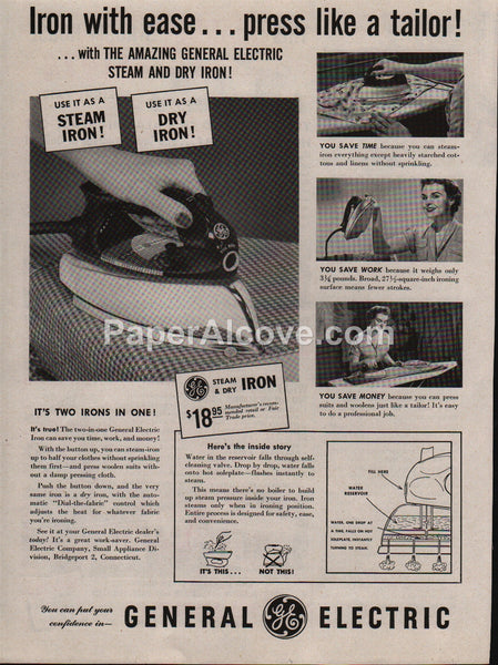 General Electric Iron 1953 vintage original old magazine ad