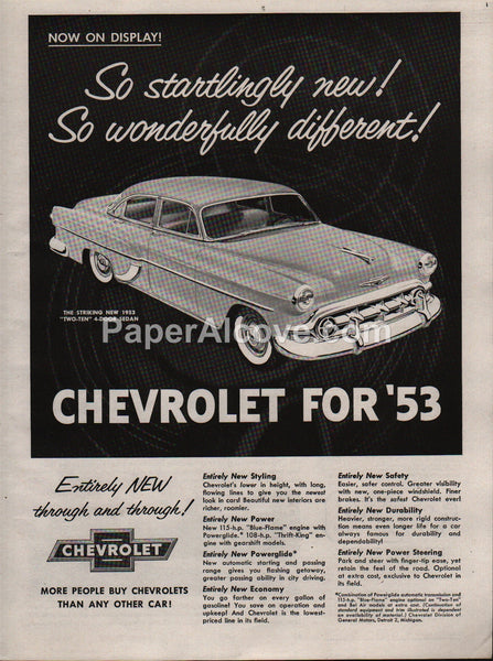 Chevrolet Two-Ten Sedan 1953 vintage original old magazine ad