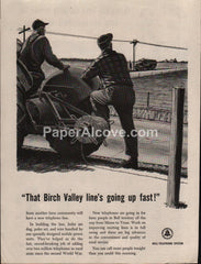 Bell Telephone System barbed wire tractor 1953 vintage original old magazine ad