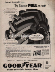 Goodyear Tractor Truck Tires 1953 vintage original old magazine ad farm equipment