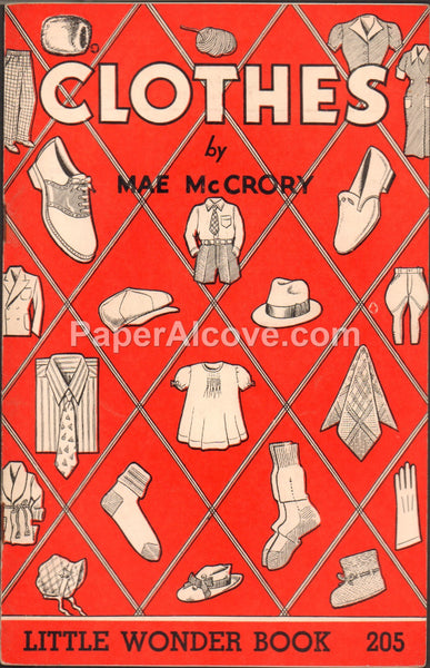 Clothes by Mae McCrory vintage 1954 old childrens Little Wonder Book #205 boy chickens