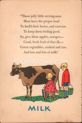 Milk vintage original antique print children cow dental health
