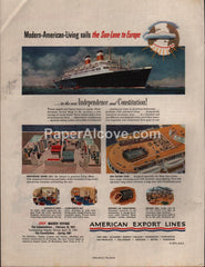 American Export Lines 1951 print ad cruise ships to Europe