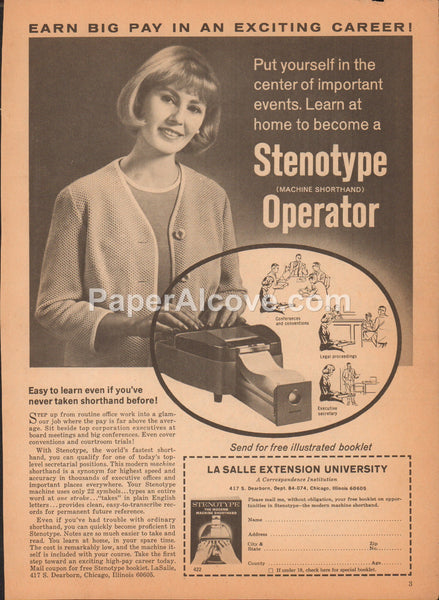 LaSalle Extension University Stenotype Operator 1968 vintage original old magazine ad Chicago