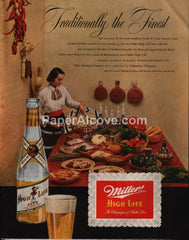 Miller High Life 1951 print ad beer latin american food