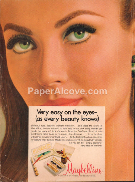 Maybelline Very Easy on the Eyes 1968 vintage original old magazine ad make-up