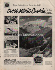 Canadian National Railways 1951 print ad continental limited train
