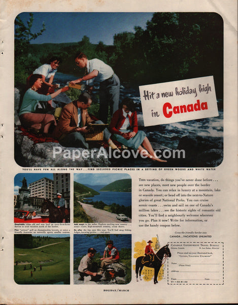 Canadian Government Travel Bureau 1951 print ad golf