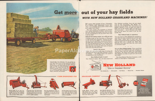 New Holland Grassland Machines Twin-Tie Baler 1953 vintage original old 2 page magazine ad Pennsylvania