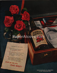 Four Roses 1951 print ad blended whiskey travel suitcase