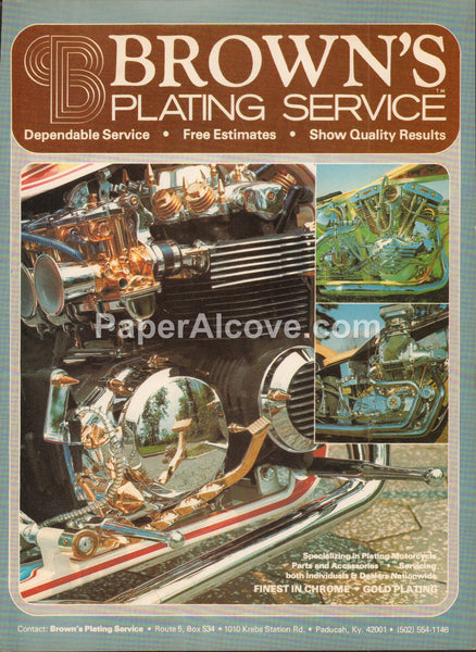 Brown's Plating Service 1978 vintage original old magazine ad custom motorcycles Paducah Kentucky