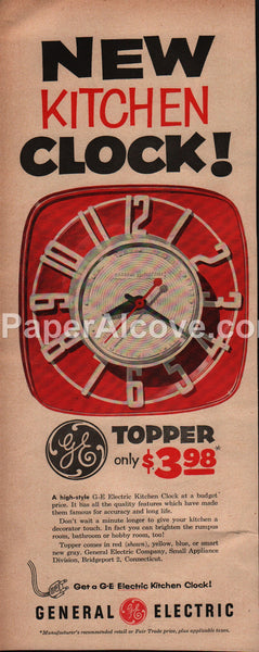 GE Topper Kitchen Clock 1954 vintage original old magazine ad General Electric mid-century modern