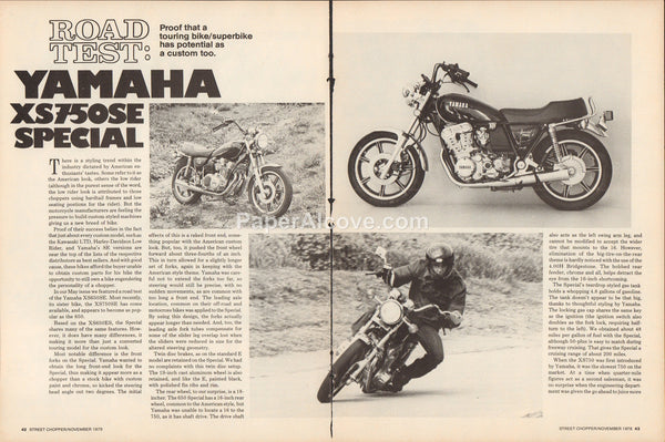 Yamaha XS750SE Special motorcycle Road Test 1978 vintage original old article
