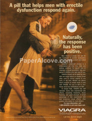 Viagra 1998 vintage original old magazine ad erectile dysfunction man woman dancing