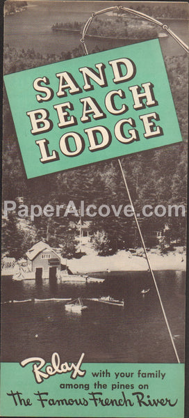 Sand Beach Lodge 1940s vintage old brochure French River Ontario Canada hunting fishing camping