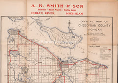 Cheboygan County Michigan Map 1933 vintage old A.K. Smith & Son advertising Indian River Royal A. Fultz Burt Douglas Mullett Pickerel Lake