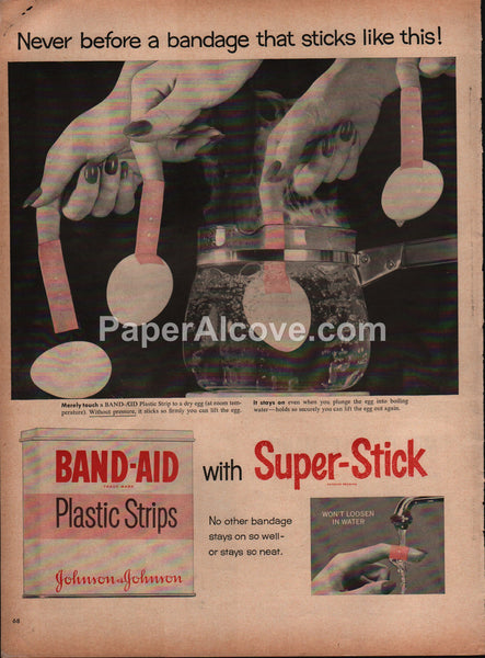 Band-Aid Bandages 1954 vintage original old magazine ad Super-Stick Plastic Strips egg