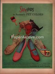 Sun-Steps shoes 1954 vintage original old magazine ad Hood Rubber B.F. Goodrich cat dog