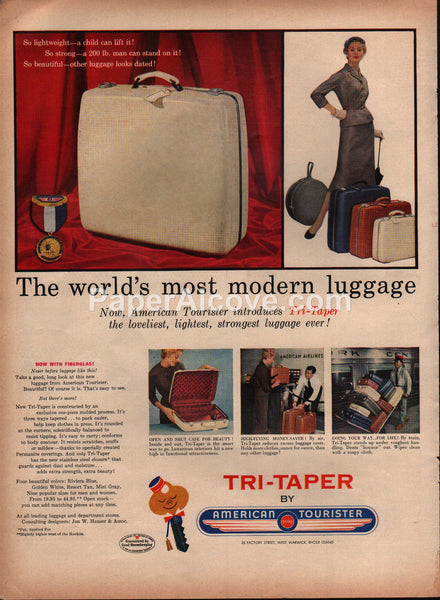 American Tourister Tri-Taper luggage 1954 vintage original old magazine ad
