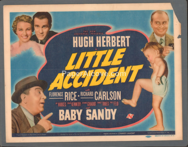 Little Accident 1939 original old vintage movie lobby card title card