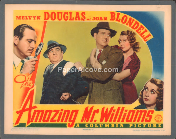 Amazing Mr. Williams The 1939 original old vintage movie lobby card Melvyn Douglas Joan Blondell