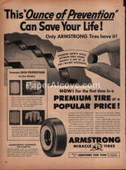Armstrong Safety Discs Tires 1954 vintage original old magazine ad