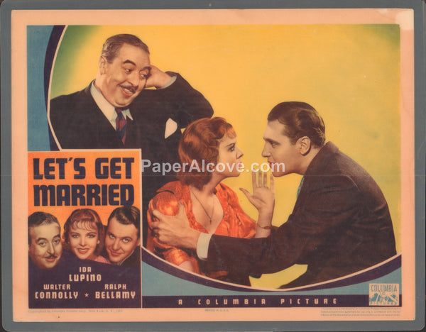 Let's Get Married 1937 original old vintage movie lobby card Ida Lupino Ralph Bellamy