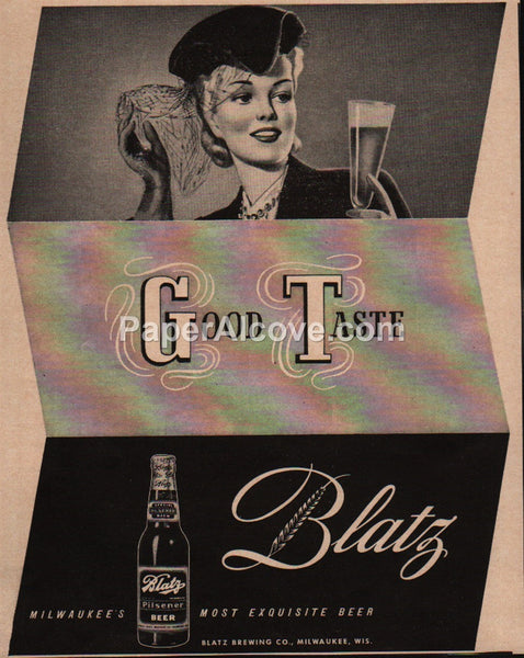 Blatz Beer Good Taste 1942 vintage original old magazine ad