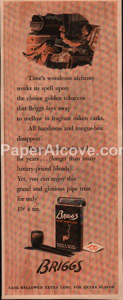 Briggs Pipe Tobacco 1942 vintage original old magazine ad pocket tin