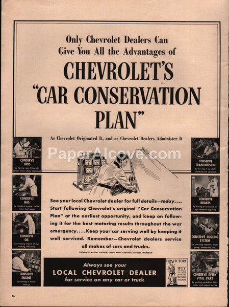 Chevrolet Car Conservation Plan 1942 vintage original old magazine ad