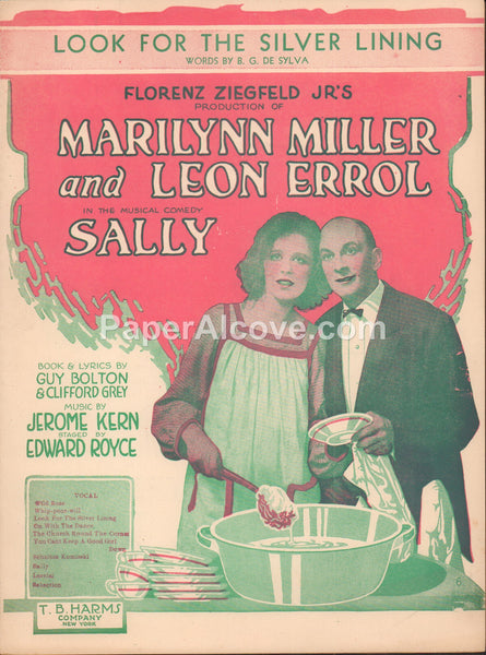 Look for the Silver Lining 1920 vintage old sheet music Marilynn Miller Leon Errol in the musical comedy Sally Jerome Kern