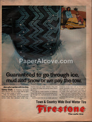 Firestone Town & Country Wide Oval Winter Tires 1968 vintage original old magazine ad